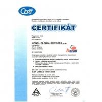 Certifikát ČSN OHSAS 18001:2008